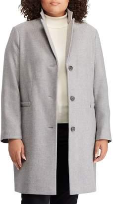 Lauren Ralph Lauren Herringbone Wool Blend Reefer Coat