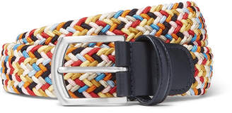 Andersons Anderson's - 3.5cm Leather-Trimmed Woven Elastic Belt