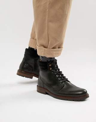 Zign Shoes lace up hiking boots in black leather