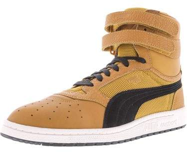 Puma Men's Sky Ii Hi Color Blocked Leather Inca Gold-Puma Black Ankle-High Fashion Sneaker - 8M