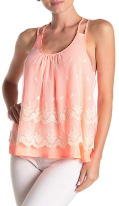 SWEET RAIN Embroidered Tulle Strappy Tank Top