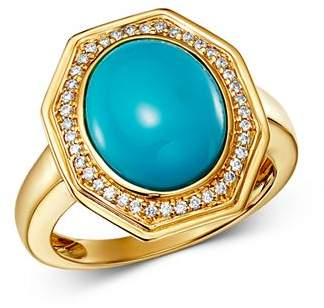 Bloomingdale's Turquoise & Diamond Octagonal Statement Ring in 14K Yellow Gold - 100% Exclusive