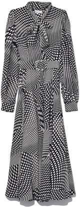 Co Tie Collar Dress in Black/White