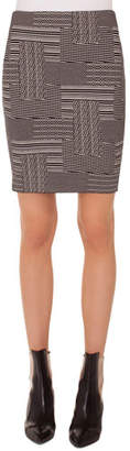 Akris Punto Patchwork Jacquard Wool-Blend Mini Skirt