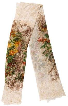 Jean Paul Gaultier Floral Mesh Scarf