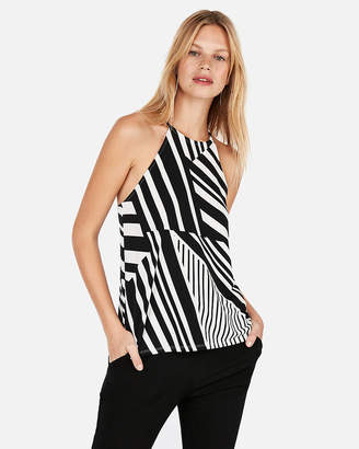 Express Stripe High Neck Racerback Tank