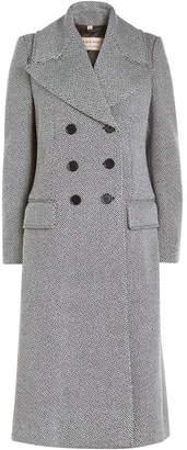 Burberry Aldermoor Herringbone Coat with Virgin Wool