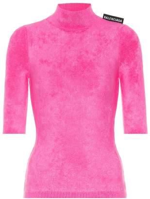 Balenciaga Velvet-jersey top