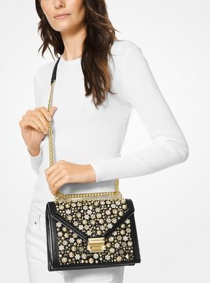 MICHAEL Michael Kors Whitney Large Embellished Leather Convertible Shoulder Bag