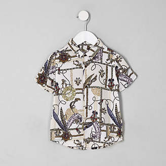 River Island Mini boys white baroque button-down shirt