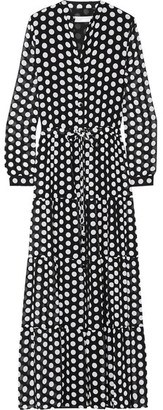 MICHAEL Michael Kors - Tiered Polka-dot Georgette Maxi Dress - Black $155 thestylecure.com