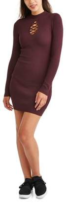 Say What Long Sleeve Cage Front Ribbed Bodycon Dress