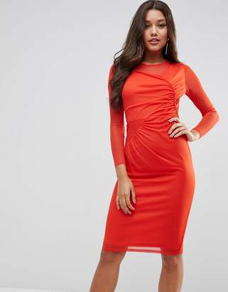 Asos Design Mesh Midi Bodycon Dress With Ruched Details