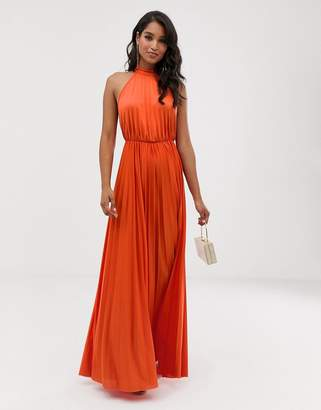 Asos Design DESIGN Halter Pleated Waisted Maxi Dress