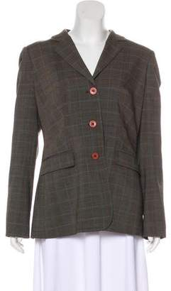 Magaschoni Plaid Wool-Blend Blazer