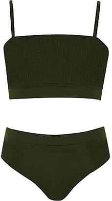 River Island Girls khaki green shirred bikini