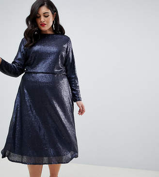 TFNC Plus Plus long sleeve fit and flare sequin midi dress in navy