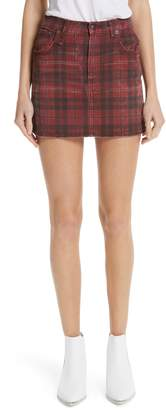 R 13 Plaid Denim Miniskirt