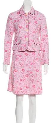 Max Mara Weekend Floral Print Knee-Length Skirt Suit