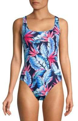 4bf926fa18c93 Tommy Bahama One-Piece Palms of Paradise Reversible Lace-Up Back Swimsuit