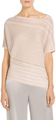 St. John Textural Sequin Stripe Knit Asymmetrical Neck Sweater