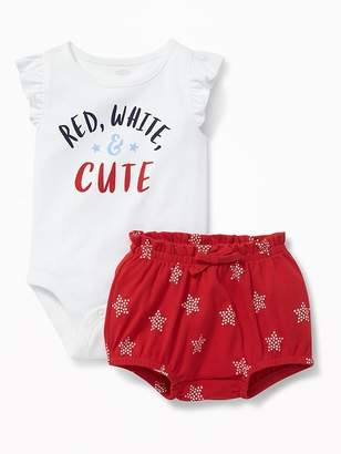 """Old Navy """"Red, White & Cute"""" Bodysuit & Star-Print Bloomers Set for Baby"""