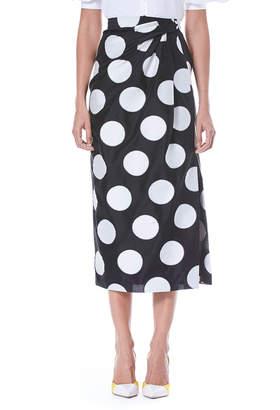 Carolina Herrera Faux-Wrap Side-Slit Dot-Print Midi Skirt