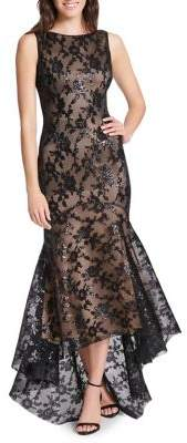 Eliza J Floral Embroidered Mesh Trumpet Gown