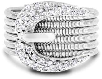 14k White Gold 0.75ct. Wired Belt Buckle Ring Size 6