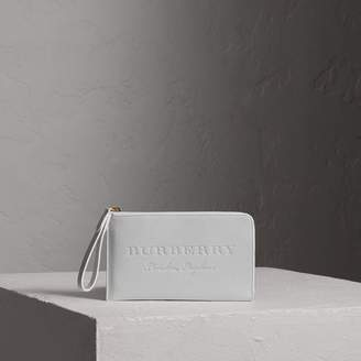 Burberry Embossed Leather Travel Wallet