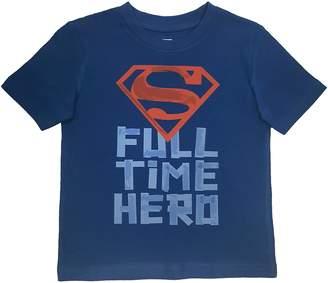 Superman Toddler Boy's Full Time Hero Short Sleeve T-Shirt, Navy