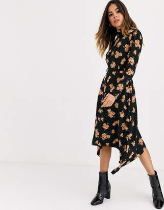 Miss Selfridge midi dress with high neck in floral print
