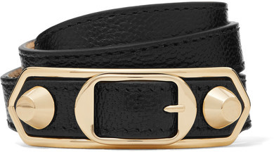 Balenciaga  Balenciaga - Metallic Edge Textured-leather And Gold-tone Bracelet - Black