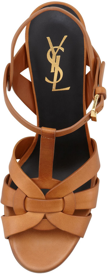 "Saint Laurent Tribute Leather Sandal, Brown, 4"" Heel"