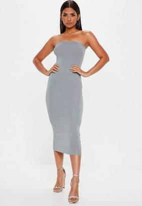 Missguided Grey Bandeau Midi Dress