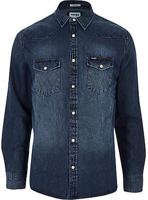 Wrangler blue western denim shirt