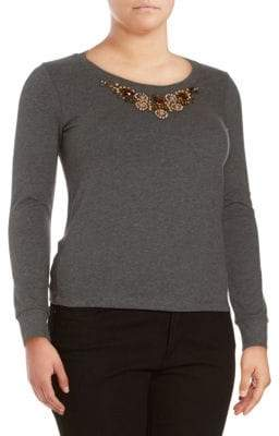 Basler Marled Beaded Top