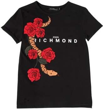 John Richmond Snake Patch Logo Jersey T-Shirt