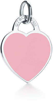 Tiffany & Co. Return to TiffanyTM heart tag charm in sterling silver and pink enamel, small