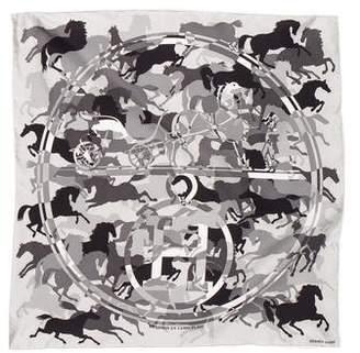 Hermes Ex Libris en Camouflage Silk Pocket Square