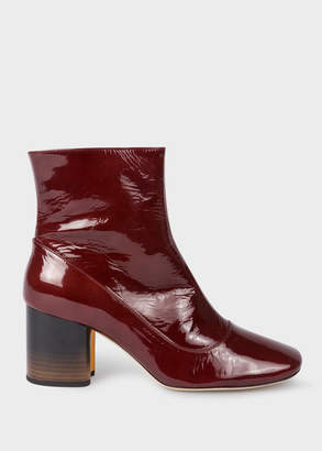 Paul Smith Womens Burgundy Patent Leather Nira Boots