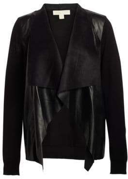 MICHAEL Michael Kors Leather Drape Cardigan