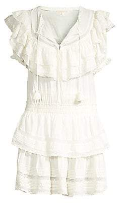 LoveShackFancy Women's Liv Tier Ruffle A-Line Tunic Dress