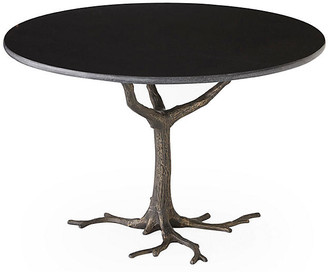 """Global Views Faux Bois 41"""" Dining Table - Granite/Iron"""