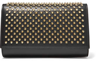 Christian Louboutin Paloma Spiked Leather Clutch - Black