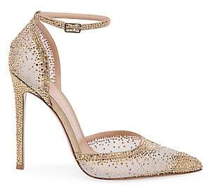 Gianvito Rossi Women's Sabin Ankle-Strap Crystal-Embellished Silk & Leather Pumps