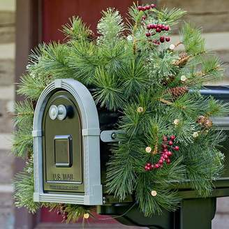 Plow & Hearth Lighted Holiday Mailbox Swag with Battery Operated Auto Timer