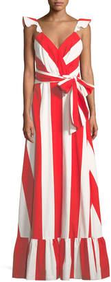 Alice + Olivia Fernanda Flutter-Straps Wide-Stripe Cotton Maxi Dress