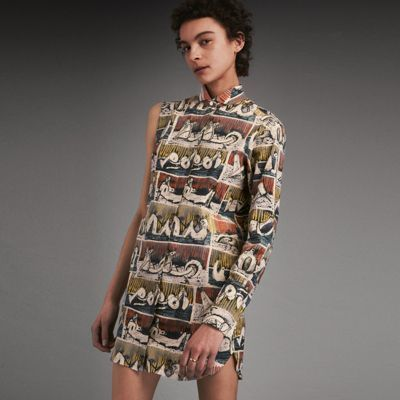 Burberry Burberry Reclining Figures Print Stretch Cotton One-Sleeve Shirt Dress
