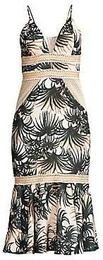 PatBO Women's Palm Print Flounce Midi Dress - Size 0